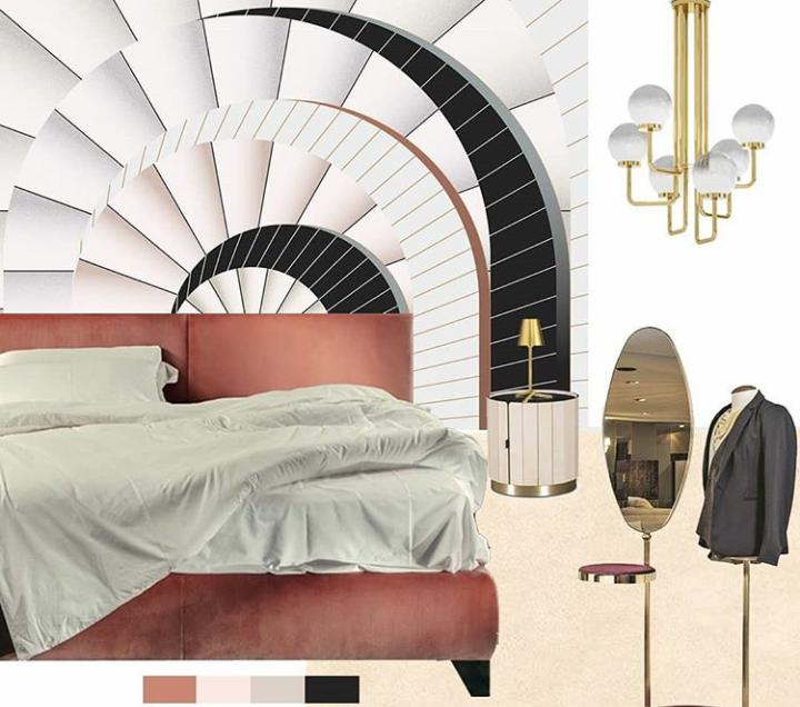 camera da letto rosa moodbaord