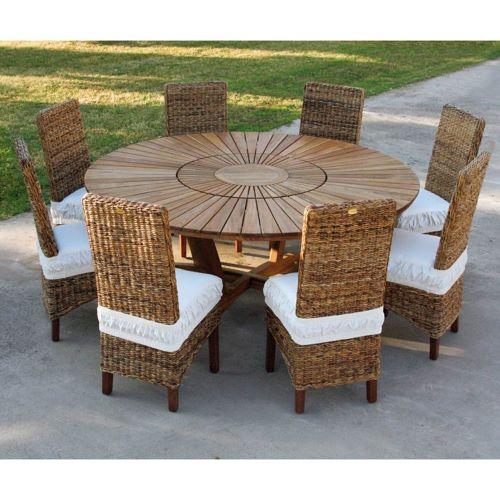 tavolo rotondo in teak massello con sedie in vimini