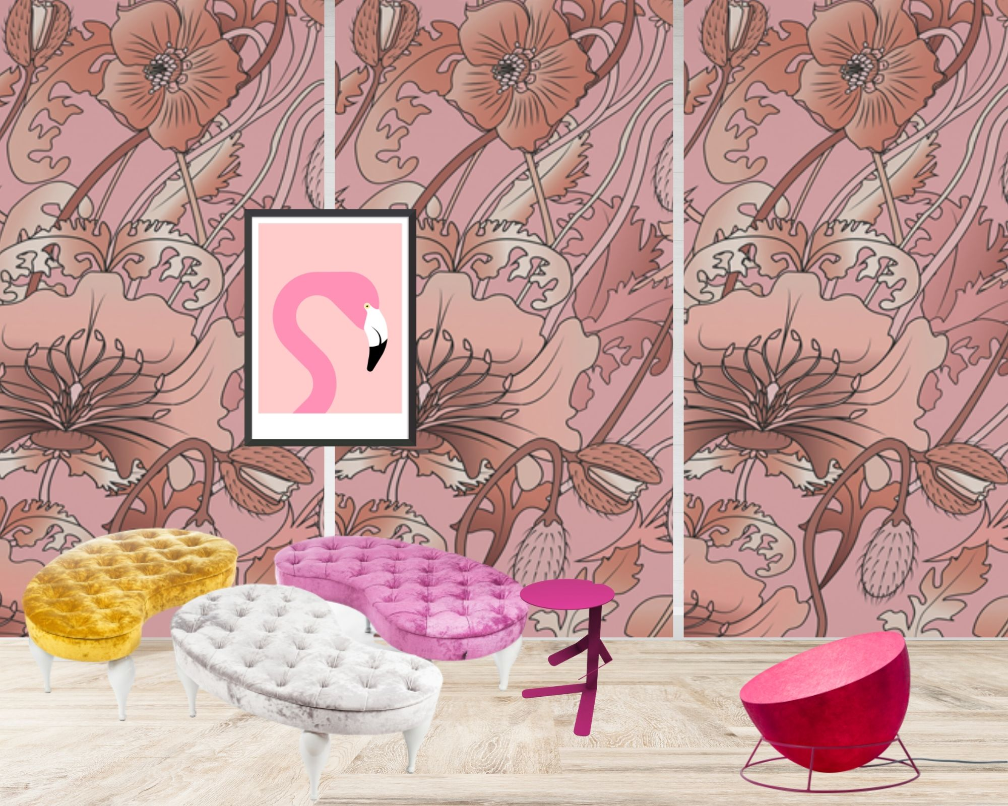abbinamento colori per arredamento casa nei toni del rosa in soggiorno
