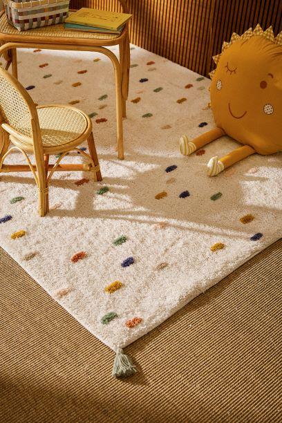 tappeto rettangolare cotone ecru a punti