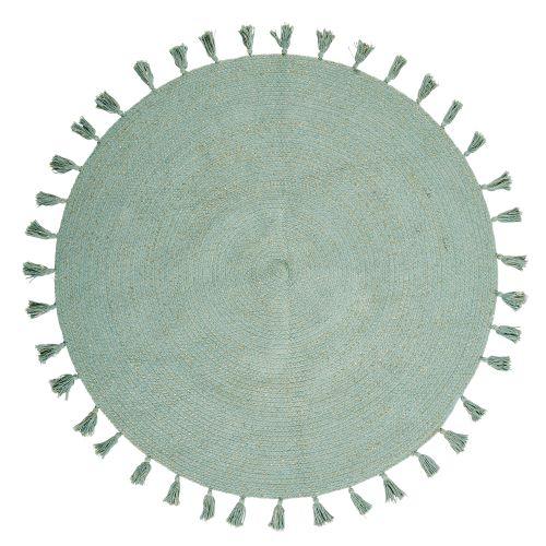tappeto tondo cotone intrecciato verde