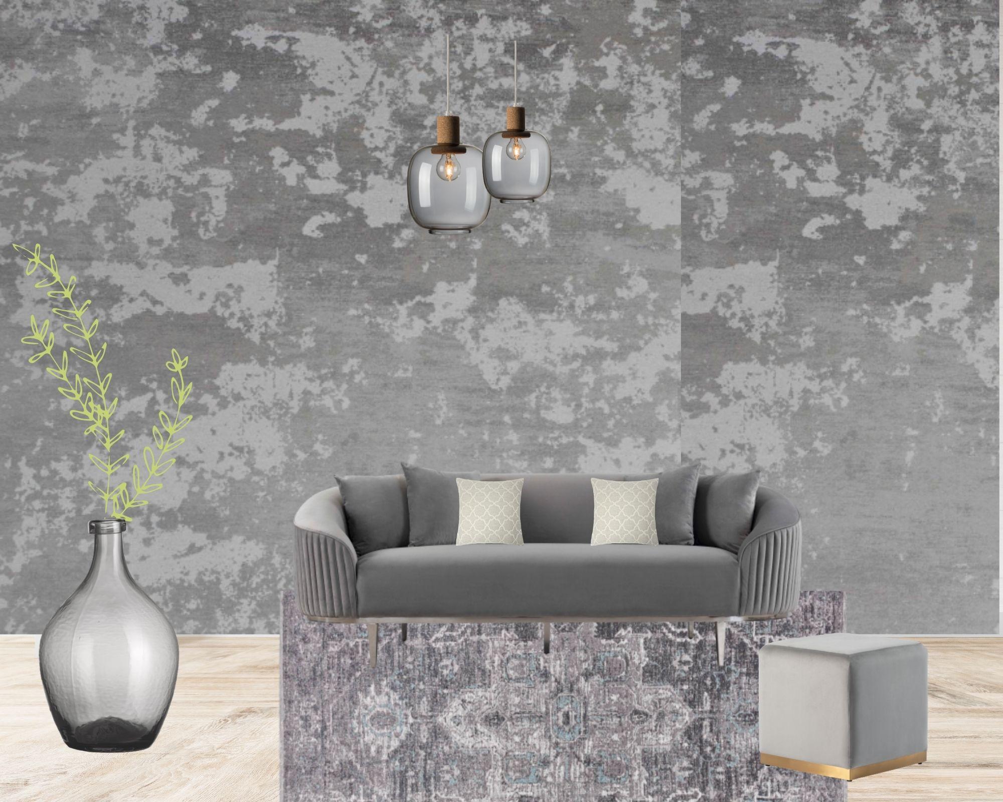 soggiorno con arredamento grigio e bianco