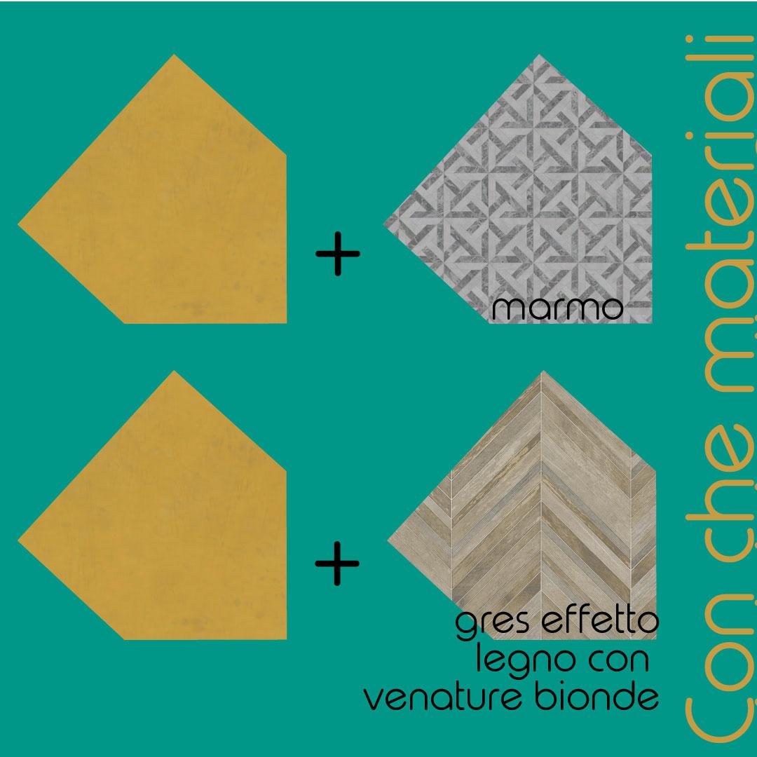 pareti colore oro e materiali